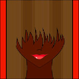 Stylized girl with face covered long bangs. Noface woman Royalty Free Stock Photography