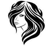 Stylized girl with long hair Stock Images
