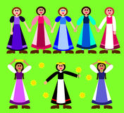 Stylized girls figurines in rural dress Royalty Free Stock Photo