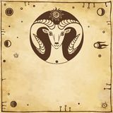 Stylized goat the symbol of 2015. Vector illustration: stylized goat the symbol of 2015, a place for the text. Imitation of old paper Royalty Free Illustration