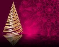 Stylized  golden Christmas tree on mandala background Royalty Free Stock Photography