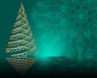 Stylized  golden Christmas tree on mandala background Royalty Free Stock Photo