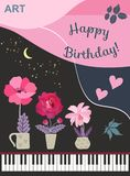 Stylized grand piano with open keyboard, flowers in flowerpots, moon and stars on nigth sky, two pink hearts , leaves and text. `Happy birthday` in vector vector illustration