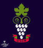 Stylized grape vine vector illustration. Winery symbol Stock Photo