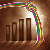 Stylized graphic chart with a knotted rainbow Stock Photos