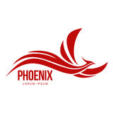 Stylized graphic phoenix bird flying with expanded wings logo template. Vector illustration isolated on white background. Phoenix bird logotype template Royalty Free Stock Images