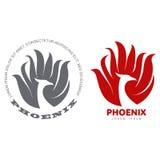 Phoenix bird logo. Stylized graphic phoenix bird logo templates. Collection of creative phoenix bird logotype templates, growth, development, power concept Stock Image