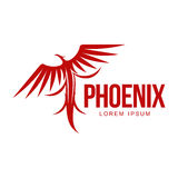 Stylized graphic phoenix bird resurrecting in flame logo template Royalty Free Stock Photo