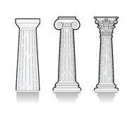 Stylized Greek columns. Different styles of Greek columns Royalty Free Stock Photo