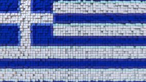 Stylized mosaic flag of Greece made of pixels, 3D rendering. Stylized Greek flag made of big pixels Royalty Free Stock Images