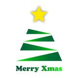 Stylized green Christmas tree with a gold star Stock Photography