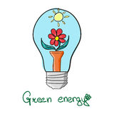 Stylized Green energy  lightbulb Royalty Free Stock Photo