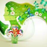 Stylized green portrait Stock Photos