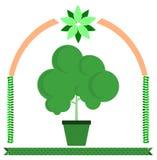 Stylized green tree on frame  Royalty Free Stock Photo