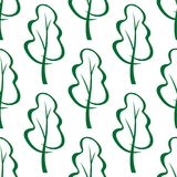 Stylized green trees sketch seamless pattern Stock Photo