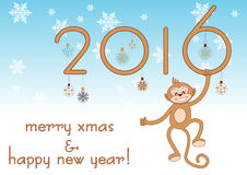 Stylized 2016 for greeting with New Year and Christmas. Stylized 2016 with funny monkey on light blue for greeting with New Year and Christmas. Vector Stock Images