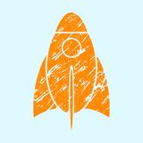 Stylized grunge rocket on a light background. Royalty Free Stock Image