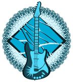 Stylized guitar on abstract decoration isolated Stock Photo