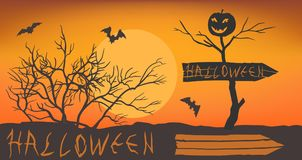 Stylized halloween lettering. Pointer to the holiday of halloween. Dead tree with smiling pumpkin. Moon background with bats and bushes. Vector illustration EPS Royalty Free Stock Photography