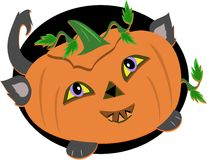 Stylized Halloween Pumpkin Cat Royalty Free Stock Images