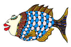 Stylized Hand Drawn Fish. Vector illustration image Royalty Free Stock Photos