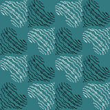 Stylized hand drawn hearts vector seamless pattern in contrast colors. Black and white hearts on blue background. Freehand drawing Royalty Free Stock Photography