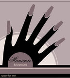 The stylized hand with a manicure. Monochrome graphics Stock Image