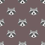 Stylized head raccoon. Seamless pattern. Stylized head raccoon in cartoon style. Seamless pattern Stock Images