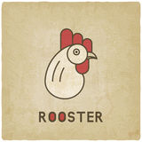 Stylized head of rooster old background Royalty Free Stock Photography