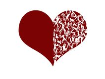 Stylized heart. Sport is the key to healthcare: active people silhouettes on a red heart Stock Image