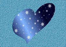 Stylized artistic heart in blue tones. Illustration representing a stylized heart made in an abstract fantasy and stars Royalty Free Stock Photography
