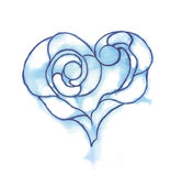 Stylized heart. Blue watercolor sketch. Line art. Ink blot. Stock Image