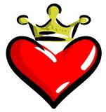 Stylized Heart with crown isolated Stock Image