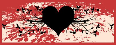 Stylized black heart with floral fantasy Royalty Free Stock Photo