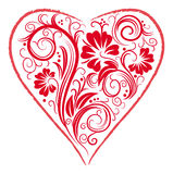 Stylized Heart and floral ornament Royalty Free Stock Images