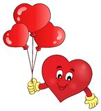Stylized heart holding balloons theme 1 Royalty Free Stock Image