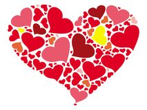 A stylized heart painted by small hearts. In red, pink and yellow royalty free illustration