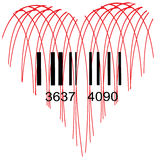 Stylized Heart for sale. Heart image with Barcode, symbol of love for sale Stock Photo