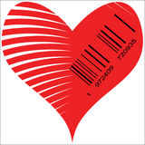 Stylized Heart for sale. Heart image with Barcode, symbol of love for sale Royalty Free Stock Photos