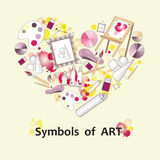 Stylized heart with symbols of art. Illustration for use in design Stock Photography