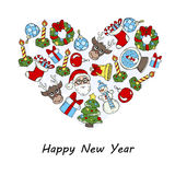 Stylized heart with symbols of Happy New Year Royalty Free Stock Images