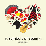 Stylized heart with symbols of Spain. Illustration for use in design
