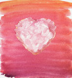 Stylized heart. Watercolor and gouache. Stock Photos
