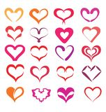 Stylized hearts collection. Ilsolated symbols Royalty Free Stock Photography