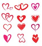 Stylized hearts collection. Isolated  symbols Royalty Free Stock Images