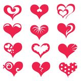Stylized hearts collection. Isolated symbols Royalty Free Stock Photos