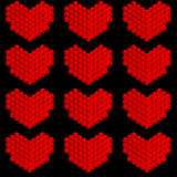 Stylized hearts made of circles Stock Images