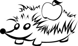 Stylized hedgehog with apple. In black and white Stock Photography