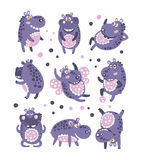 Stylized Hippo With Polka-Dotted Pattern Collection Of Childish Stickers Or Prints Of Friendly Toy Animal In Violet  Royalty Free Stock Photo
