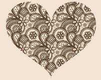 Stylized hjärta med den abstrakt prydnaden Arkivbild